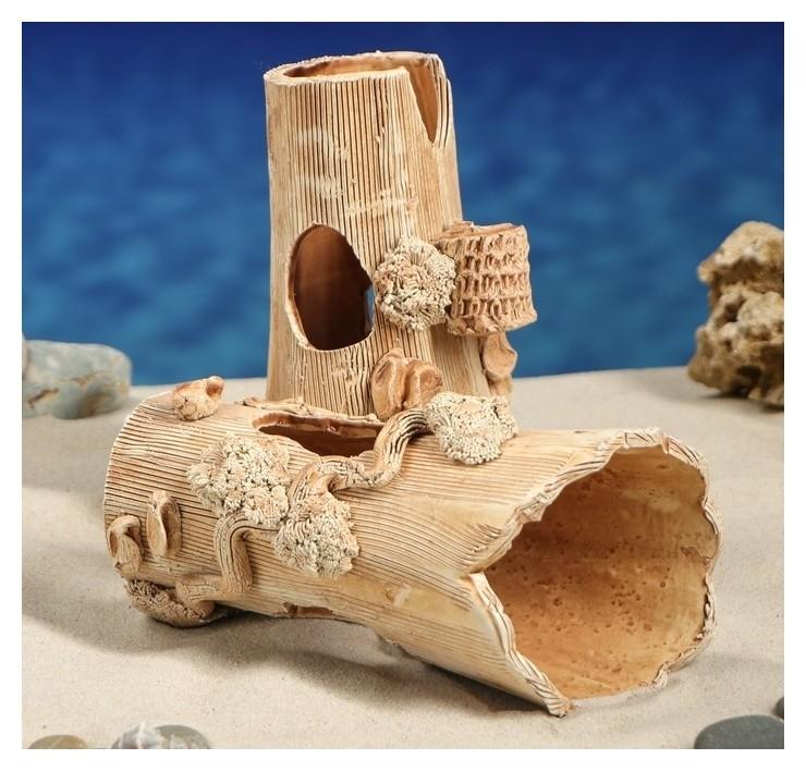"""Декорация для аквариума """"Две коряги"""", 17 х 15 х 19 см  Керамика ручной работы"""