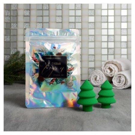 Cпонж в голографическом пакете «Подарочек» Арт узор