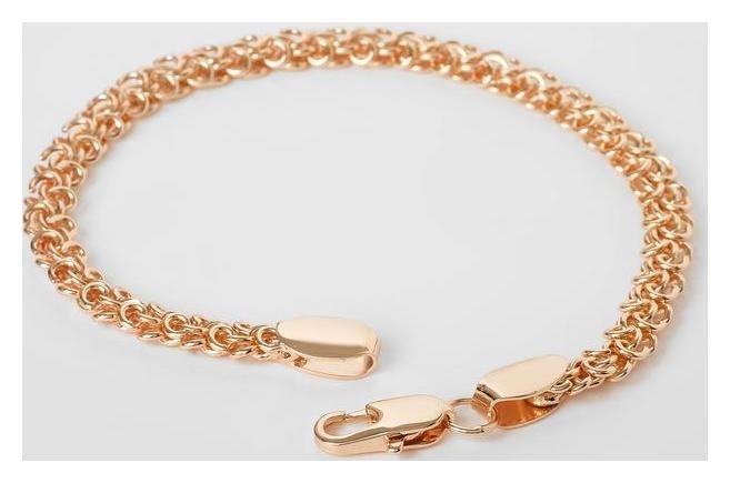 Браслет металл Цепь переплетённые круги, цвет золото, 19 см NNB