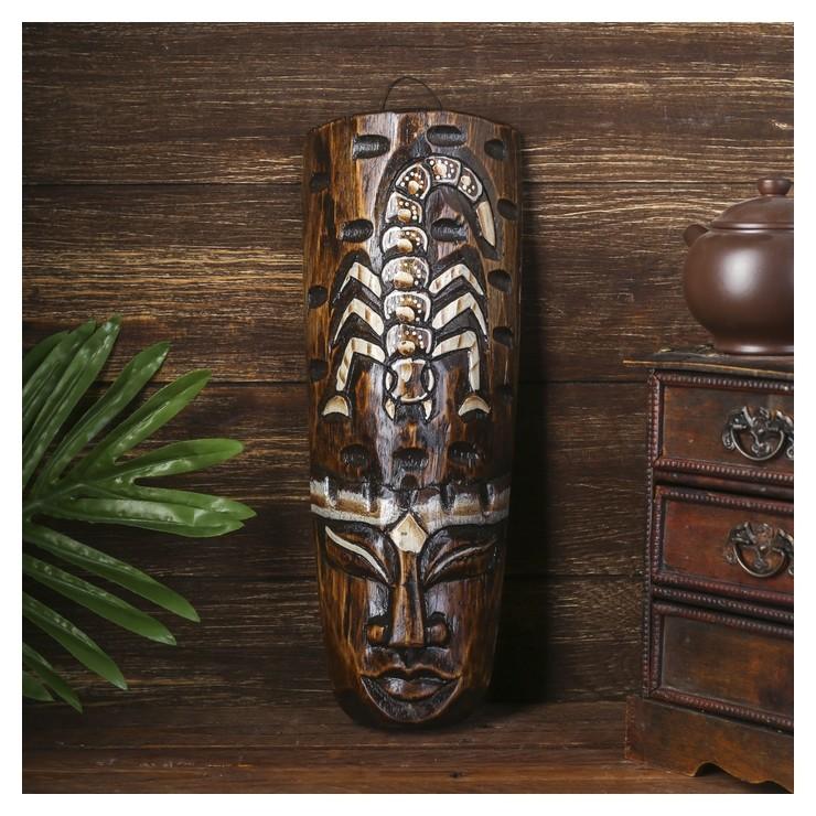 Маска дерево Абориген и скорпион 30х10х4 см Керамика ручной работы
