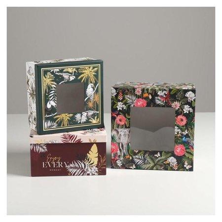 Набор коробок с PVC окном 3 в 1 «Тропики», 18 × 18 × 10‒22 × 22 × 12 см Дарите счастье