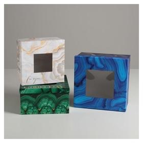 Набор коробок с PVC окном 3 в 1 «Текстуры», 18 × 18 × 10‒22 × 22 × 12 см  Дарите счастье