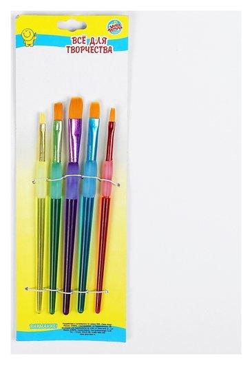 Набор кистей, нейлон, 5 штук, круглые, с цветными ручками, с резиновыми держателями  Calligrata