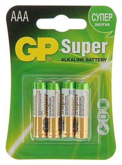 Батарейка алкалиновая GP Super, Aaa, Lr03-4bl, 1.5в, блистер, 4 шт.  GР