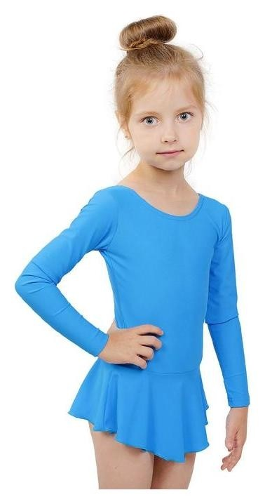 Купальник гимнастический с юбкой, с длинным рукавом, размер 28, цвет бирюзовый Grace dance