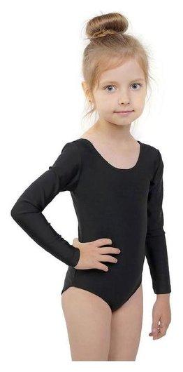 Купальник гимнастический, с длинным рукавом, размер 30, цвет чёрный  Grace dance