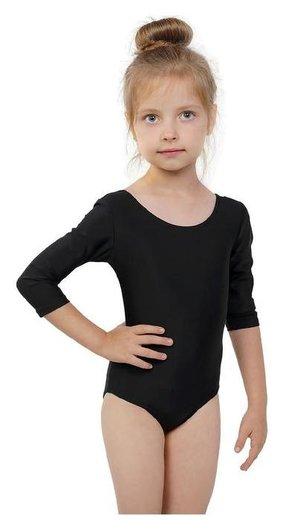 Купальник гимнастический, рукав 3/4, размер 30, цвет чёрный Grace dance
