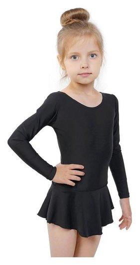 Купальник гимнастический с юбкой, с длинным рукавом, размер 38, цвет чёрный Grace dance