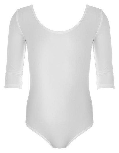 Купальник гимнастический, рукав 3/4, размер 32, цвет белый Grace dance