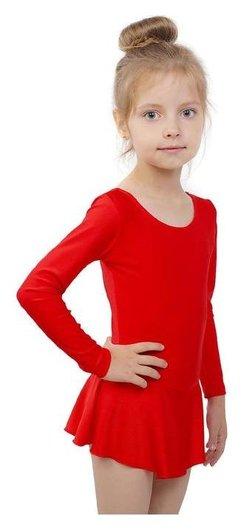 Купальник гимнастический с юбкой, с длинным рукавом, размер 30, цвет красный
