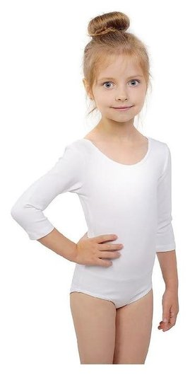Купальник гимнастический, рукав 3/4, размер 38, цвет белый  Grace dance