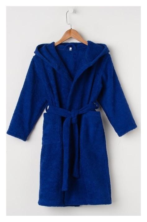 Халат махровый детский, размер 34, цвет синий, 340 г/м2 хл.100% с Airo Экономь и Я