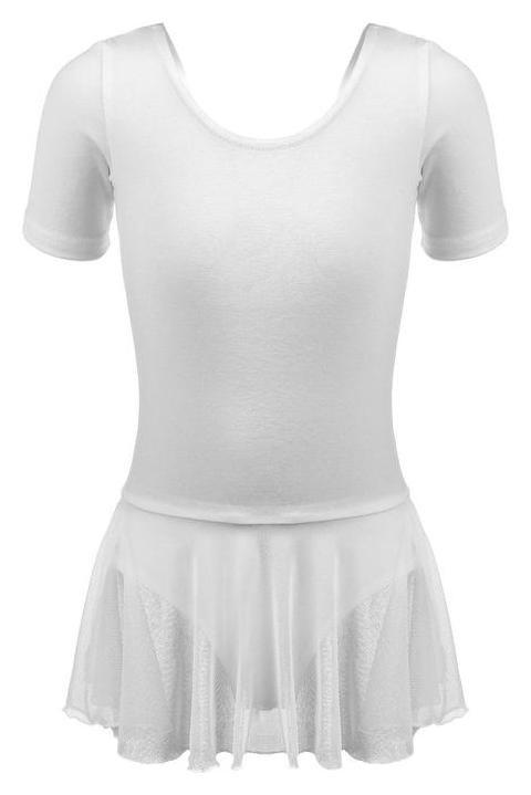 Купальник для хореографии х/б, короткий рукав, юбка-сетка, размер 36, цвет белый  Grace dance
