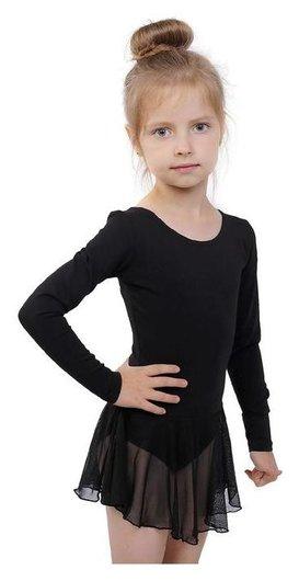 Купальник для хореографии х/б, длинный рукав, юбка-сетка, размер 32, цвет чёрный Grace dance