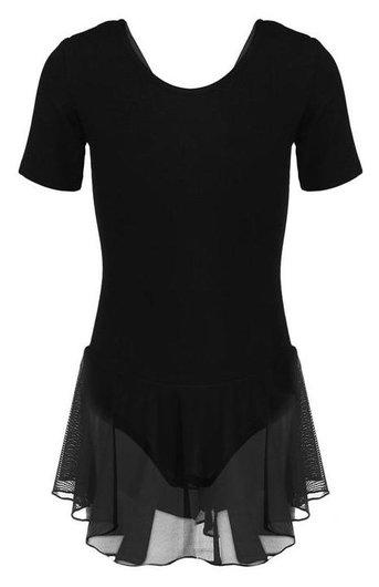 Купальник для хореографии х/б, короткий рукав, юбка-сетка, размер 38, цвет чёрный  Grace dance