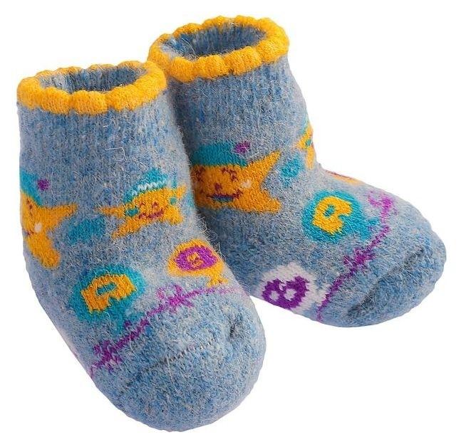 Носки детские шерстяные «Звездочка», цвет голубой, размер 14 Стильная Шерсть
