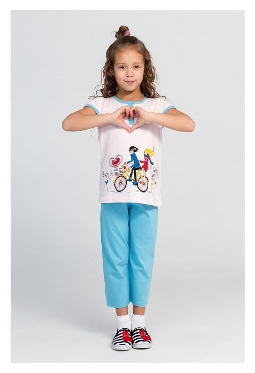 Комплект (Футболка, брюки) для девочки, цвет голубой/розовый, рост 140-146 см N.O.A