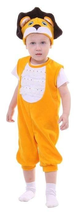 """Карнавальный костюм для мальчика """"Лев"""" от 1,5-3-х лет, велюр, 2 предмета: комбинезон, шапка  Страна Карнавалия"""