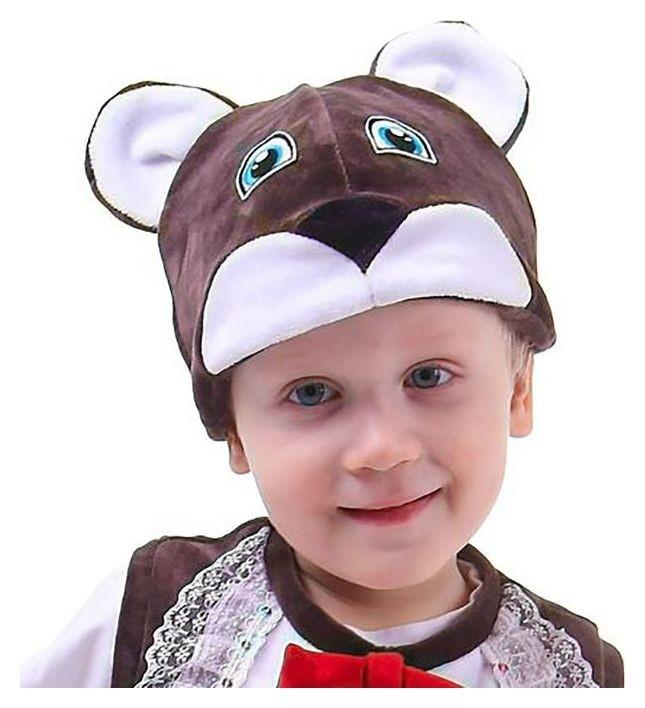 Карнавальная шапка «Медведь», велюр, хлопок, р-р 52-57 Страна Карнавалия