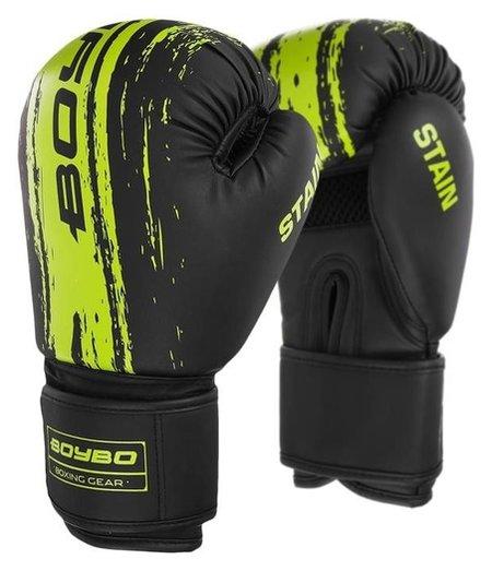 Перчатки боксёрские Boybo Stain, флекс, цвет зелёный, 8 унций  NNB