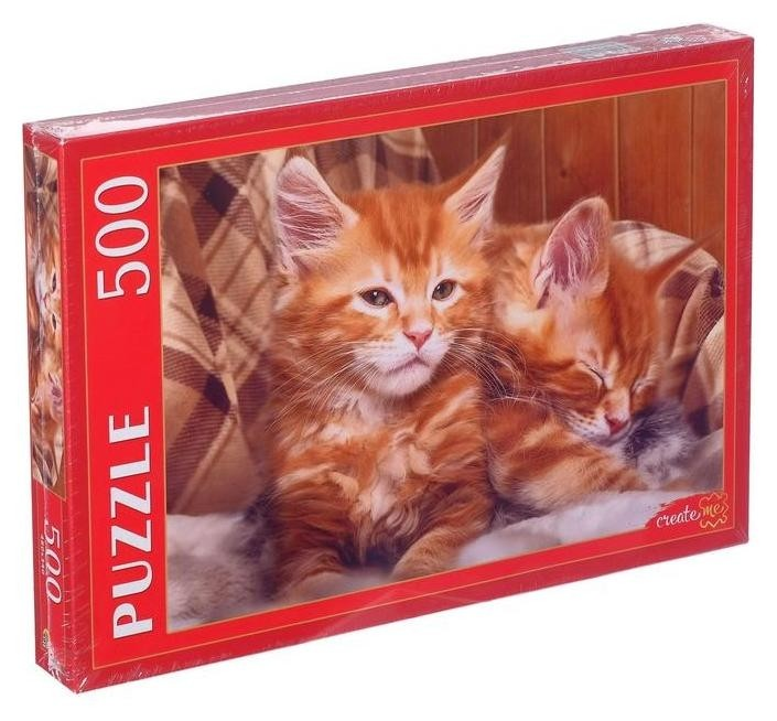 Пазлы 500 элементов «Рыжие котята мейн-куна»  Рыжий кот