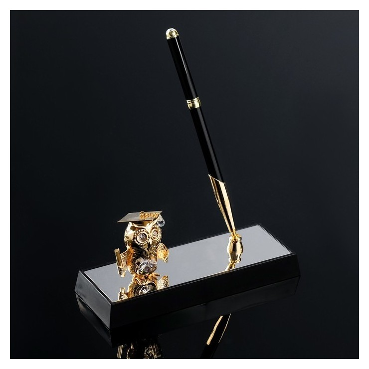 Ручка на подставке Сова с кристаллами сваровски  Swarovski Elements