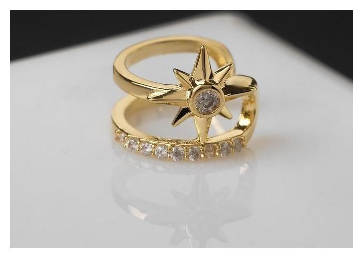 Серьга Каффа северная звезда, цвет белый в золоте NNB