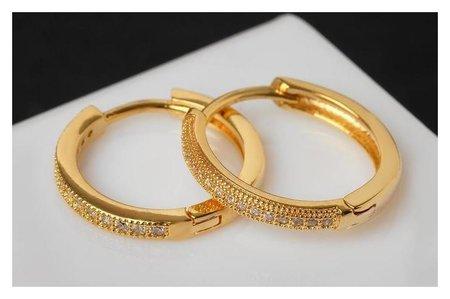 Серьги-кольца Всплеск ровная линия, цвет белый в золоте, D=2 NNB