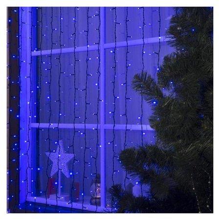 """Гирлянда """"Занавес"""" 2 х 3 м, Ip44, умс, тёмная нить, 760 Led, свечение синее, 220 В  LuazON"""