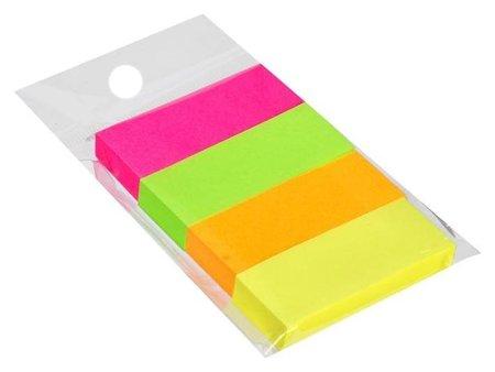 Блок-закладки с клеевым краем бумажные 12*50мм, 4цв*80л Neon  Calligrata