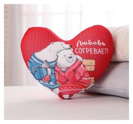 Подушка антистресс сердце «Любовь согревает», мишки Mni mnu