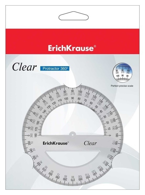 Транспортир 360*/12 см Clear, полибег Erich krause