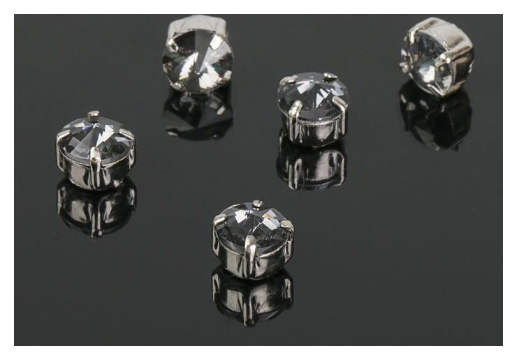 Стразы в цапах без отверстий (Набор 5 шт), 6*6мм, цвет серый в серебре  Queen Fair