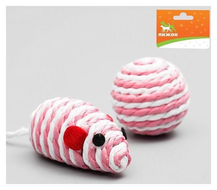 Набор игрушек для кошек: мышь 5 см и шар 4 см  Пижон