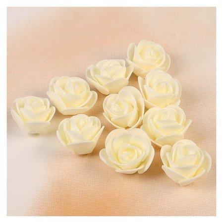 Набор цветов для декора из фоамирана, D=3 см, 10 шт, бежевый  NNB