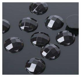 Стразы плоские круг, 14 мм, (Набор 10шт), цвет черный  Queen Fair