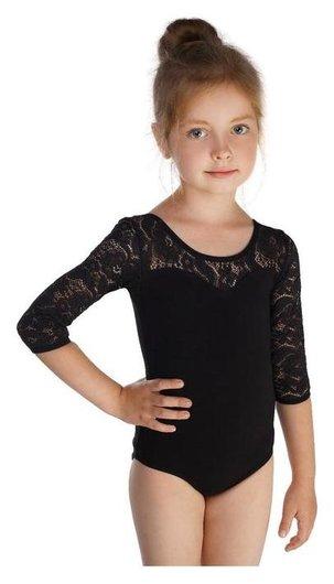 Купальник гимнастический, кокетка и рукав 3/4 гипюр, размер 42, цвет чёрный  Grace dance