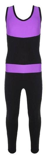 Комбинезон гимнастический со вставками (Gd2002), цвет чёрный-фиолет, размер 32  Grace dance
