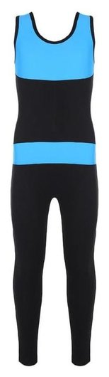 Комбинезон гимнастический со вставками (Gd2002), цвет чёрный/бирюза, размер 38  Grace dance
