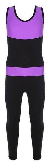 Комбинезон гимнастический со вставками (Gd2002), цвет чёрный-фиолет, размер 30  Grace dance