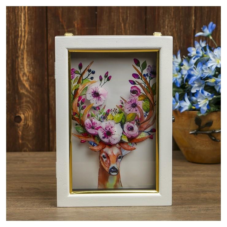 Ключница 6 крючков Олень с цветами на рогах 3D 25х17х6,5см NNB