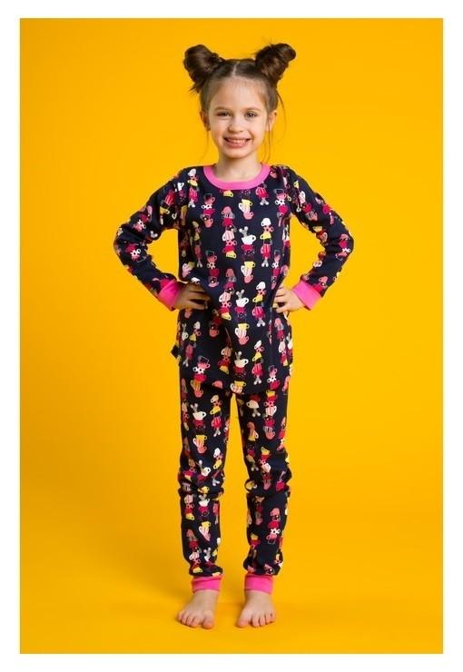 Пижама для девочки Чайная пара, рост 92-98 см, цвет тёмно-синий/розовый Minaku