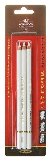 Уголь белый в карандаше Koh-i-noor Gioconda 8812, набор разных твёрдостей № 2, 3, 4  Koh-i-noor