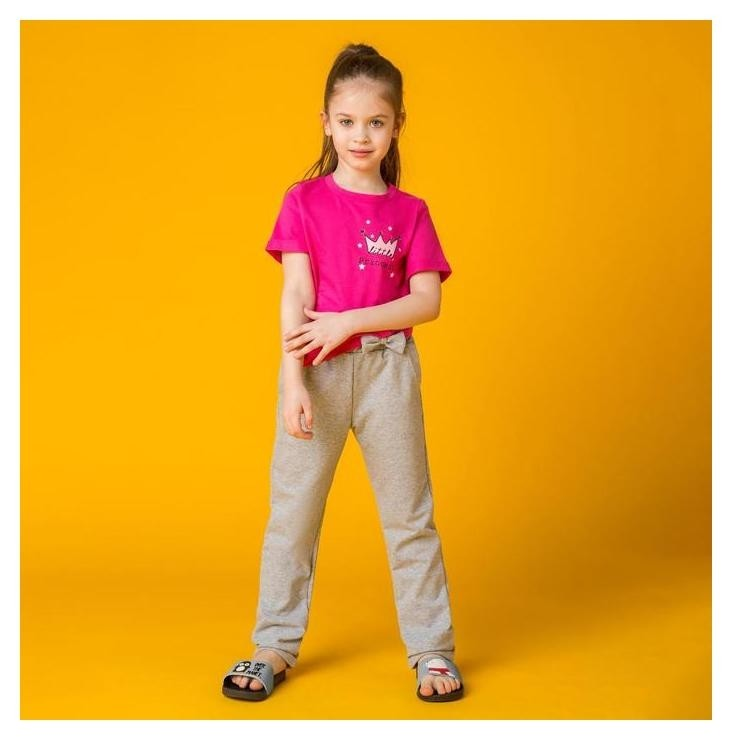 Пижама для девочки Minaku Принцесса, рост 98-104, цвет серый/фуксия Minaku