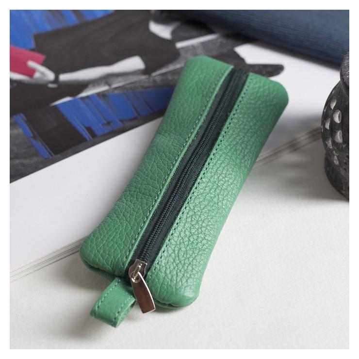 Ключница, отдел на молнии, металлическое кольцо, флотер, цвет зелёный  Максим