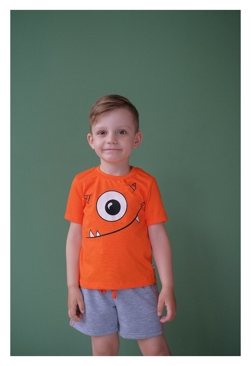 Комплект: футболка и шорты Kaftan Монстр р.30 (98-104), оранжевый, серый Kaftan