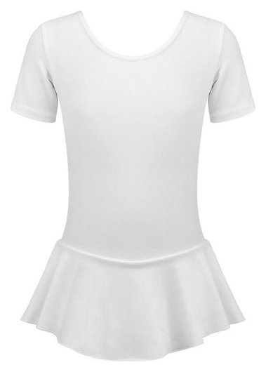 Купальник гимнастический х/б с юбкой, короткий рукав, цвет белый, размер 30  Grace dance