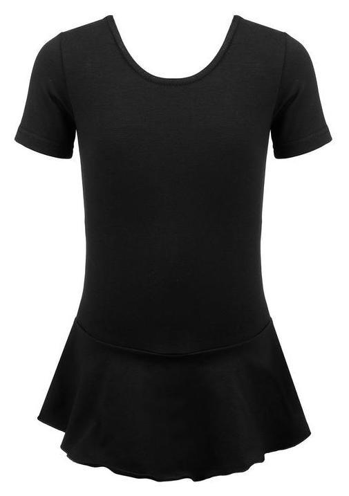 Купальник гимнастический х/б с юбкой, короткий рукав, цвет чёрный, размер 28  Grace dance