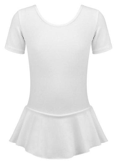 Купальник гимнастический х/б с юбкой, короткий рукав, цвет белый, размер 28 Grace dance