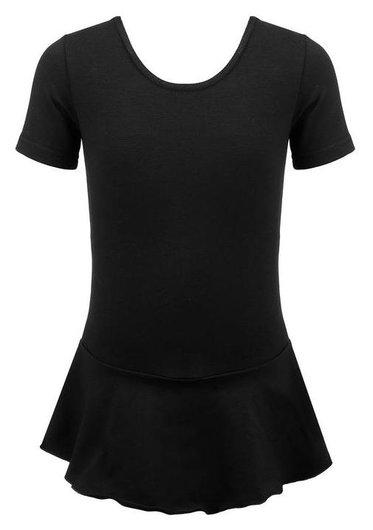 Купальник гимнастический х/б с юбкой, короткий рукав, цвет чёрный, размер 38  Grace dance